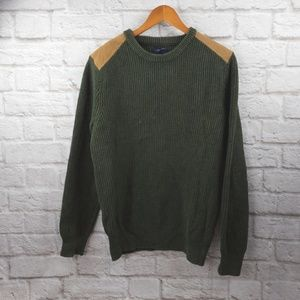 J.Crew men's Sweater shoulder patches Olive green